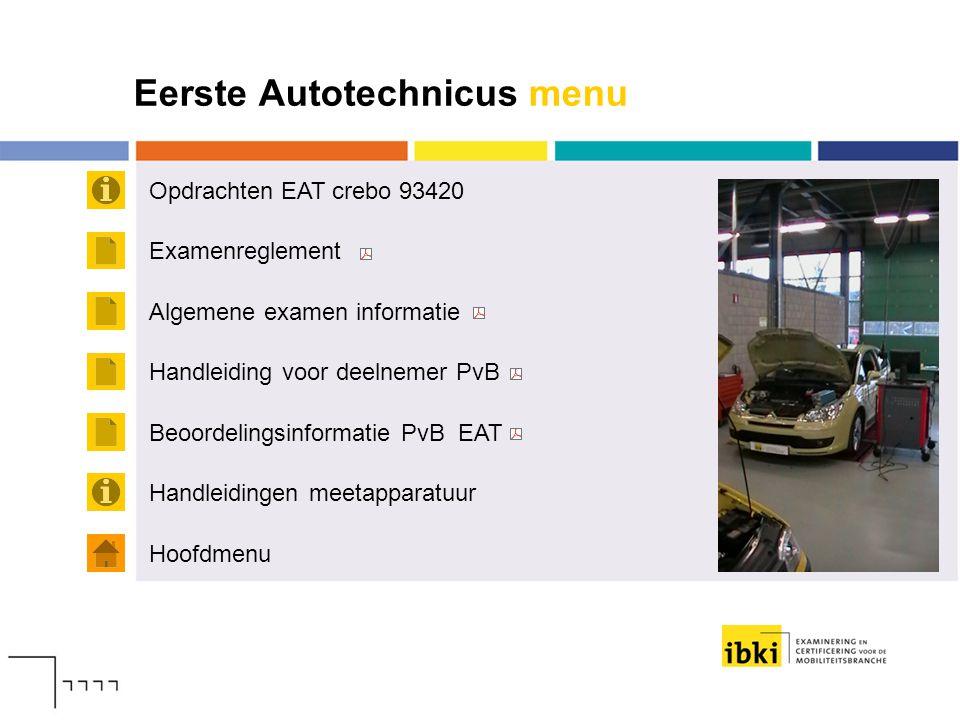 Eerste Autotechnicus menu