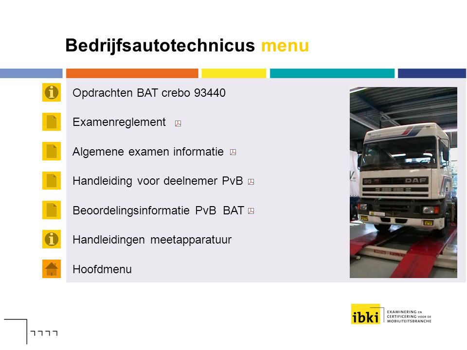 Bedrijfsautotechnicus menu