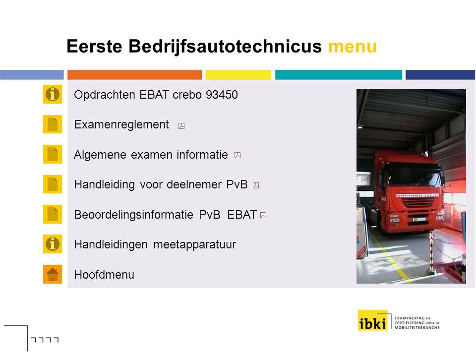 Eerste Bedrijfsautotechnicus menu