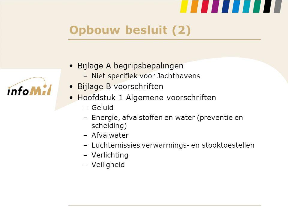 Opbouw besluit (2) Bijlage A begripsbepalingen Bijlage B voorschriften