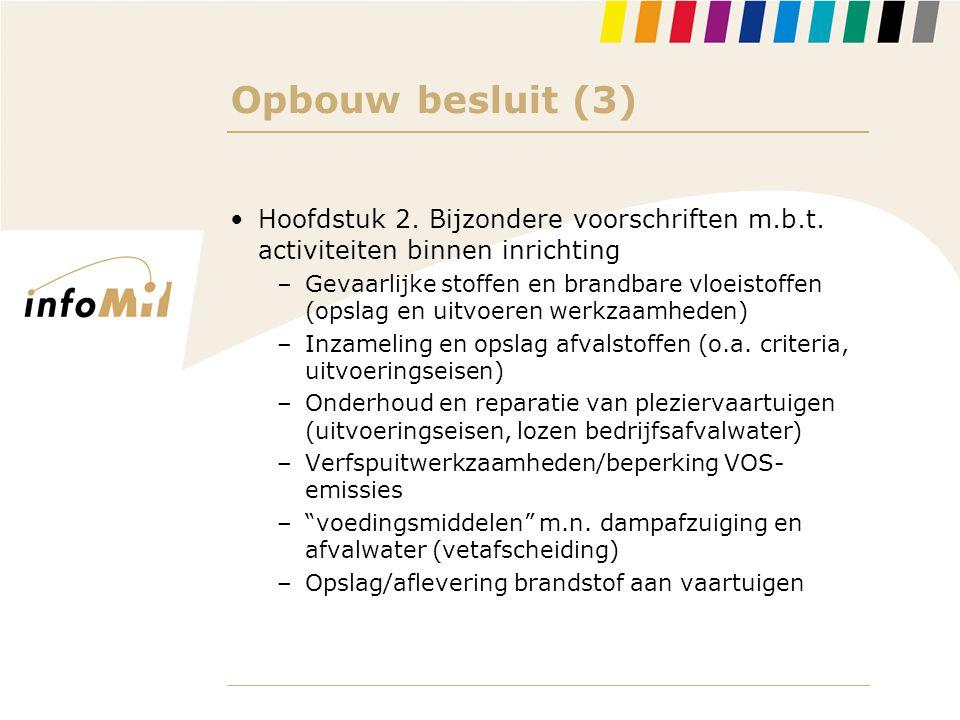 Opbouw besluit (3) Hoofdstuk 2. Bijzondere voorschriften m.b.t. activiteiten binnen inrichting.