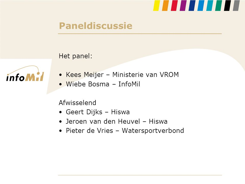 Paneldiscussie Het panel: Kees Meijer – Ministerie van VROM