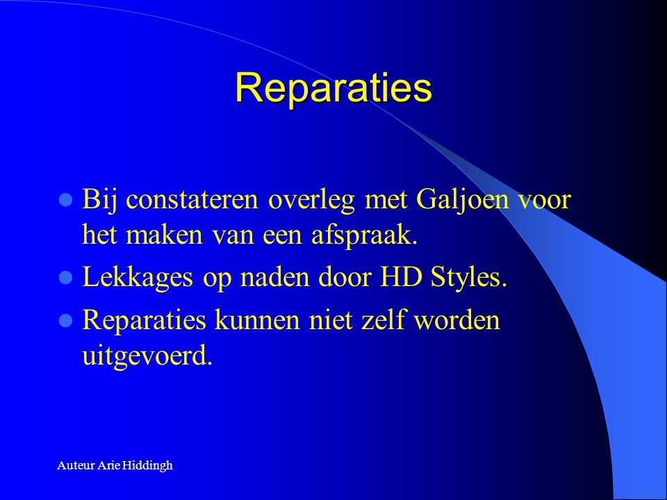 Reparaties Bij constateren overleg met Galjoen voor het maken van een afspraak. Lekkages op naden door HD Styles.