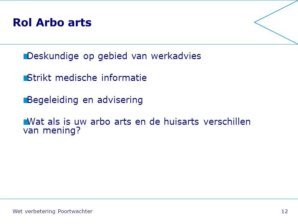 Rol Arbo arts Deskundige op gebied van werkadvies
