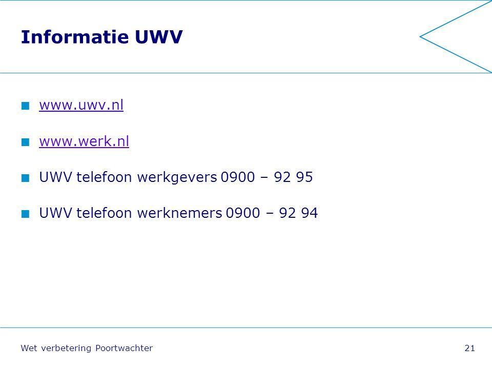 Informatie UWV www.uwv.nl www.werk.nl