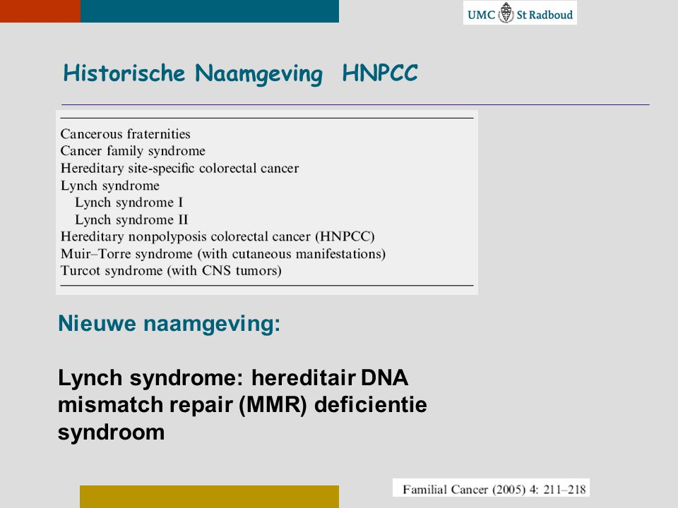 Historische Naamgeving HNPCC