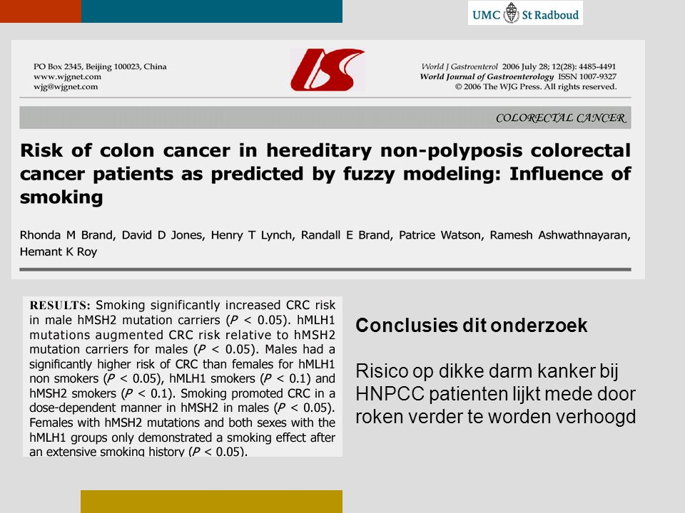 Conclusies dit onderzoek Risico op dikke darm kanker bij HNPCC patienten lijkt mede door roken verder te worden verhoogd