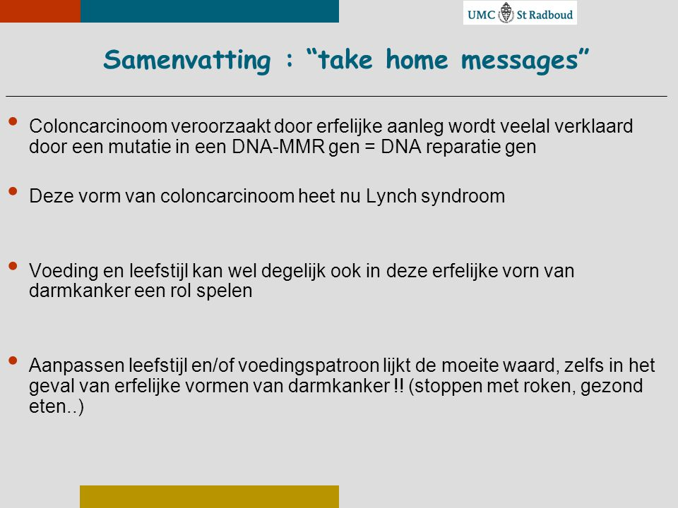 Samenvatting : take home messages