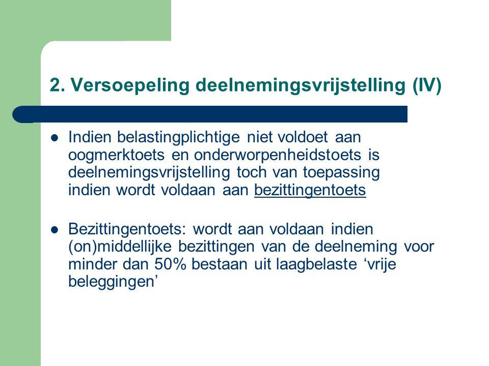 2. Versoepeling deelnemingsvrijstelling (IV)