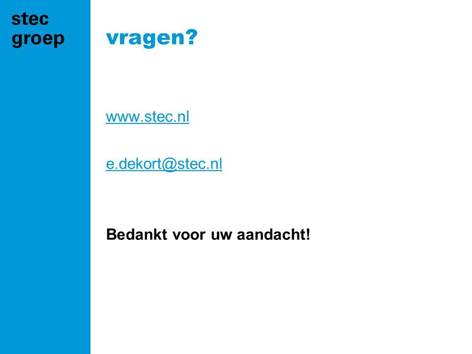 vragen www.stec.nl e.dekort@stec.nl Bedankt voor uw aandacht!