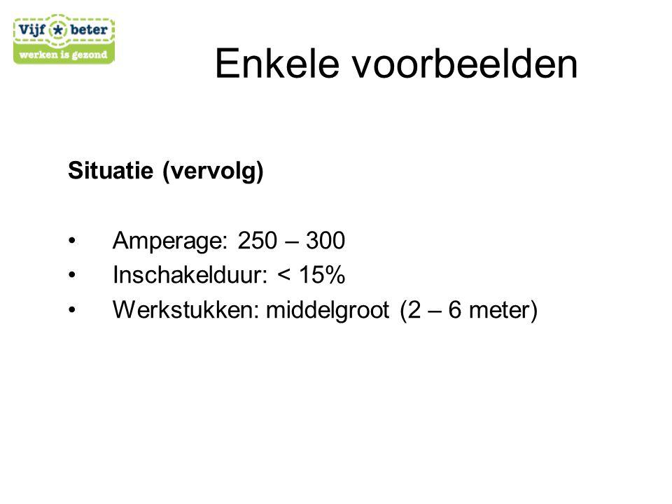 Enkele voorbeelden Situatie (vervolg) Amperage: 250 – 300