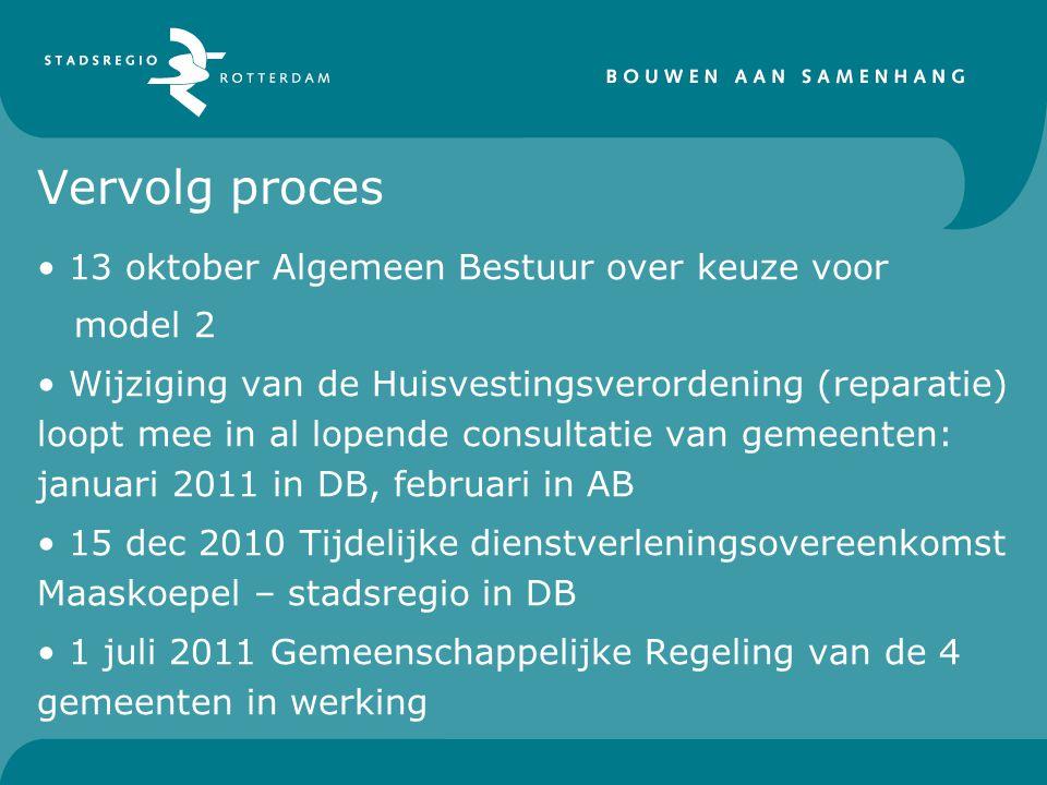 Vervolg proces 13 oktober Algemeen Bestuur over keuze voor model 2