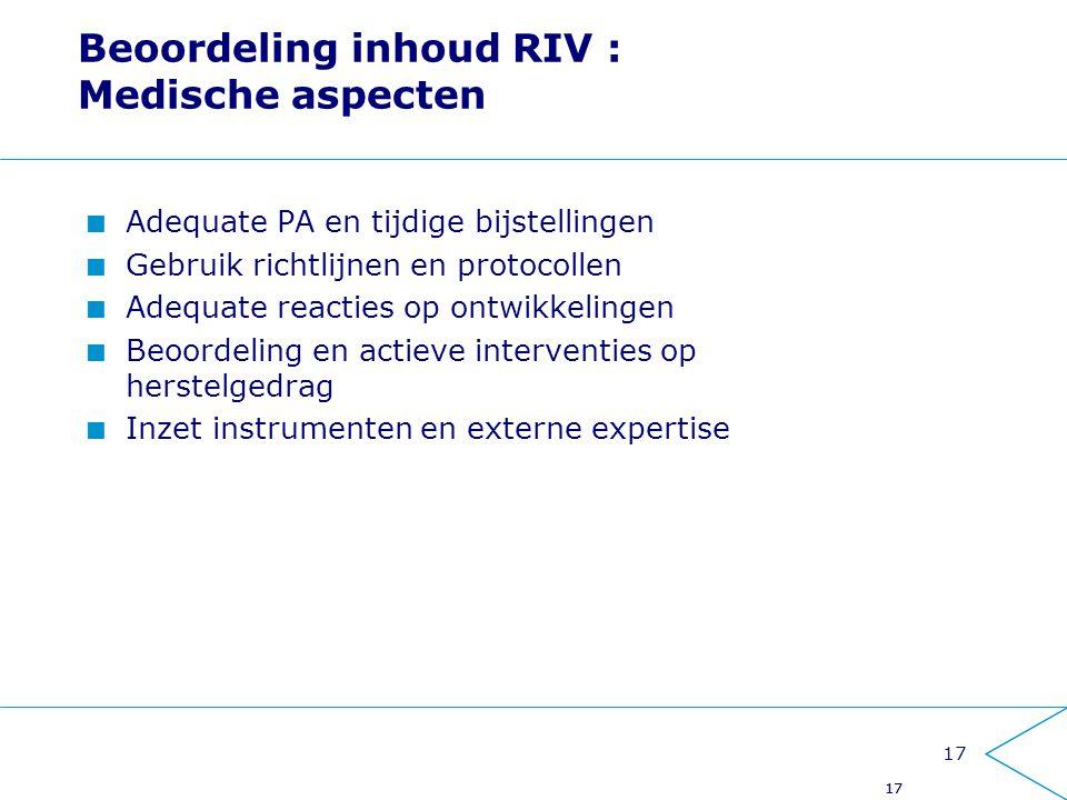Beoordeling inhoud RIV : Medische aspecten