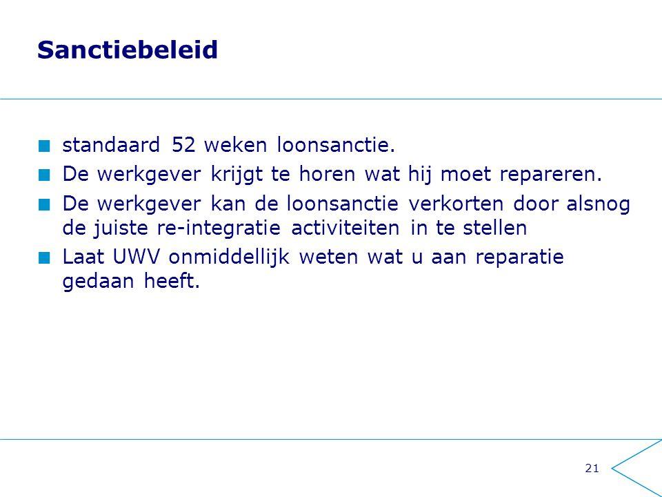 Sanctiebeleid standaard 52 weken loonsanctie.