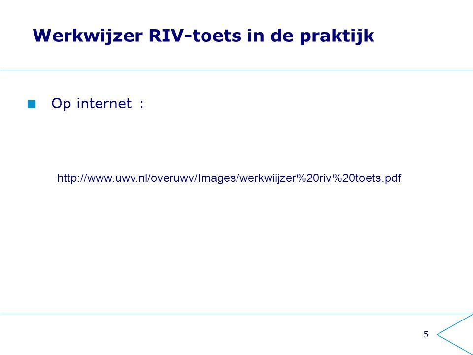 Werkwijzer RIV-toets in de praktijk