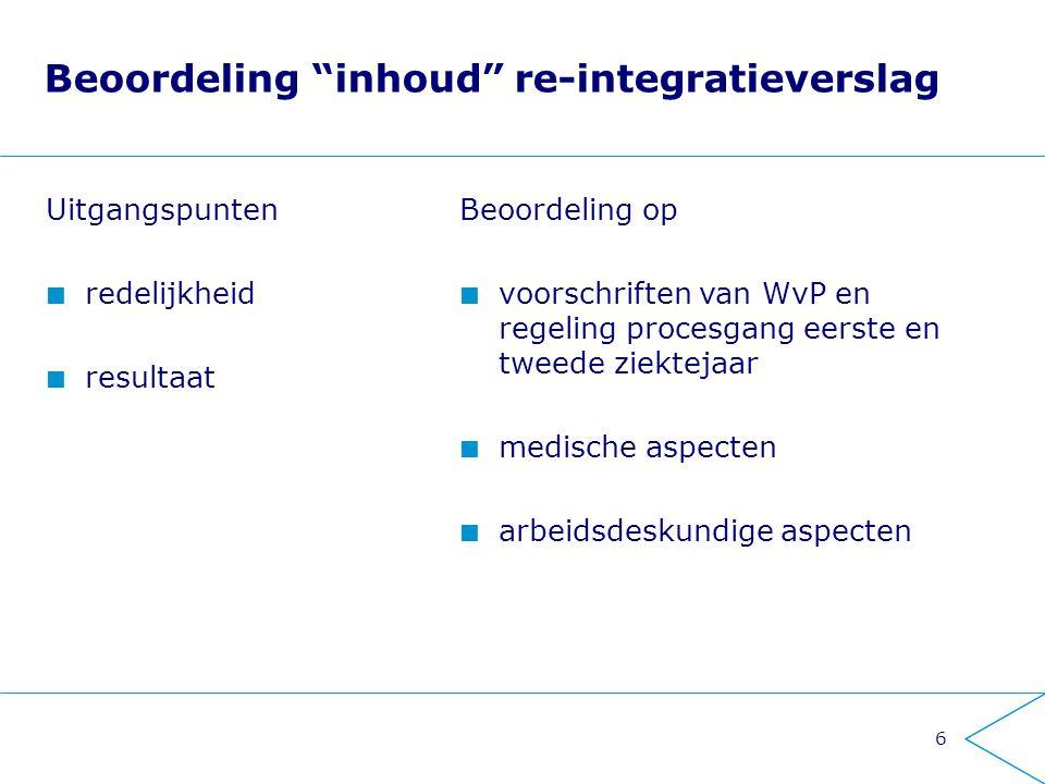 Beoordeling inhoud re-integratieverslag