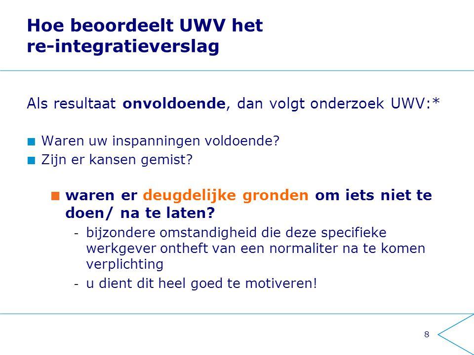 Hoe beoordeelt UWV het re-integratieverslag