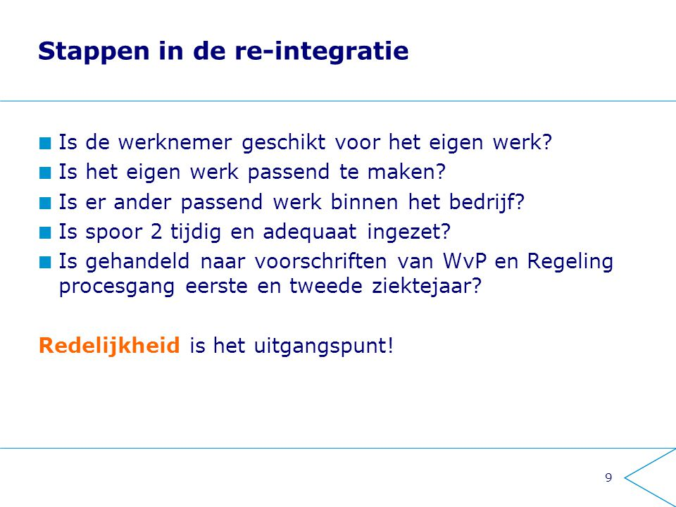 Stappen in de re-integratie
