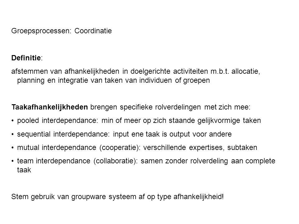 Groepsprocessen: Coordinatie