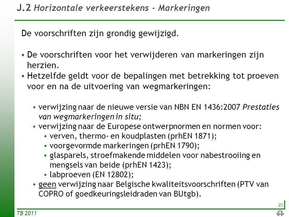 J.2 Horizontale verkeerstekens - Markeringen