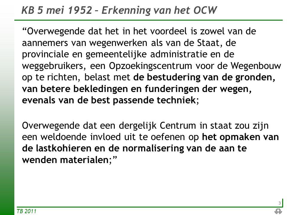 KB 5 mei 1952 – Erkenning van het OCW