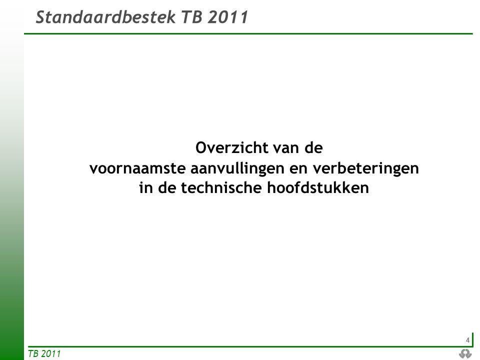 Overzicht van de Standaardbestek TB 2011