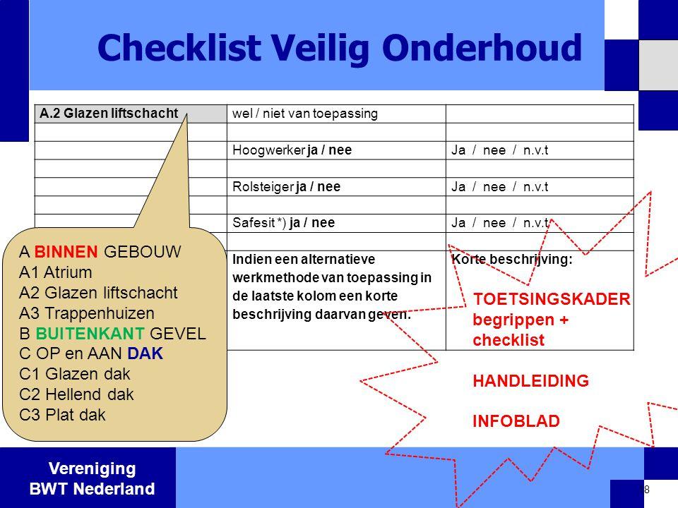 Checklist Veilig Onderhoud