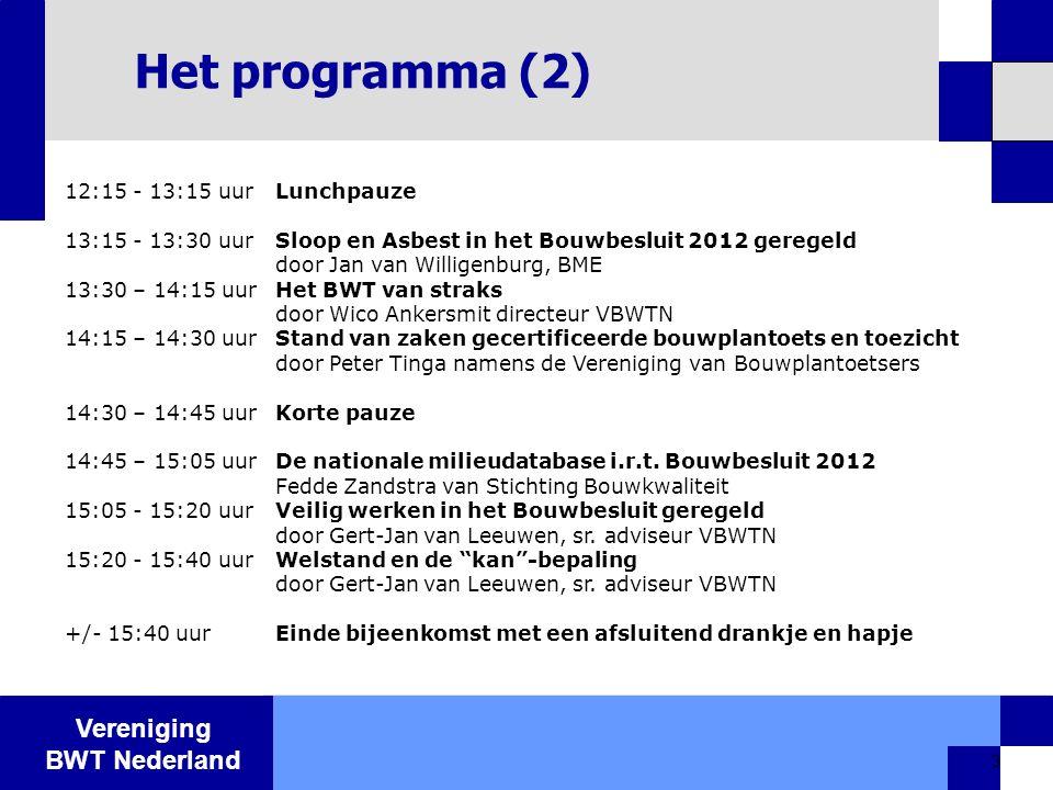 Het programma (2) 12:15 - 13:15 uur Lunchpauze