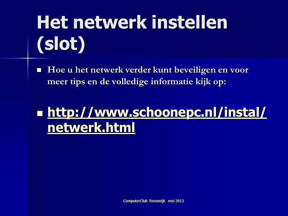 Het netwerk instellen (slot)