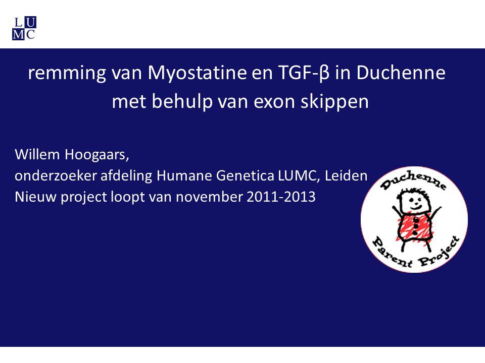 remming van Myostatine en TGF-β in Duchenne met behulp van exon skippen