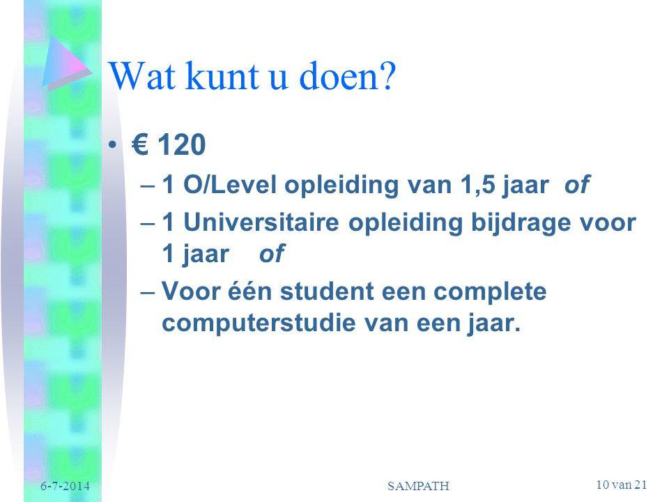 Wat kunt u doen € 120 1 O/Level opleiding van 1,5 jaar of
