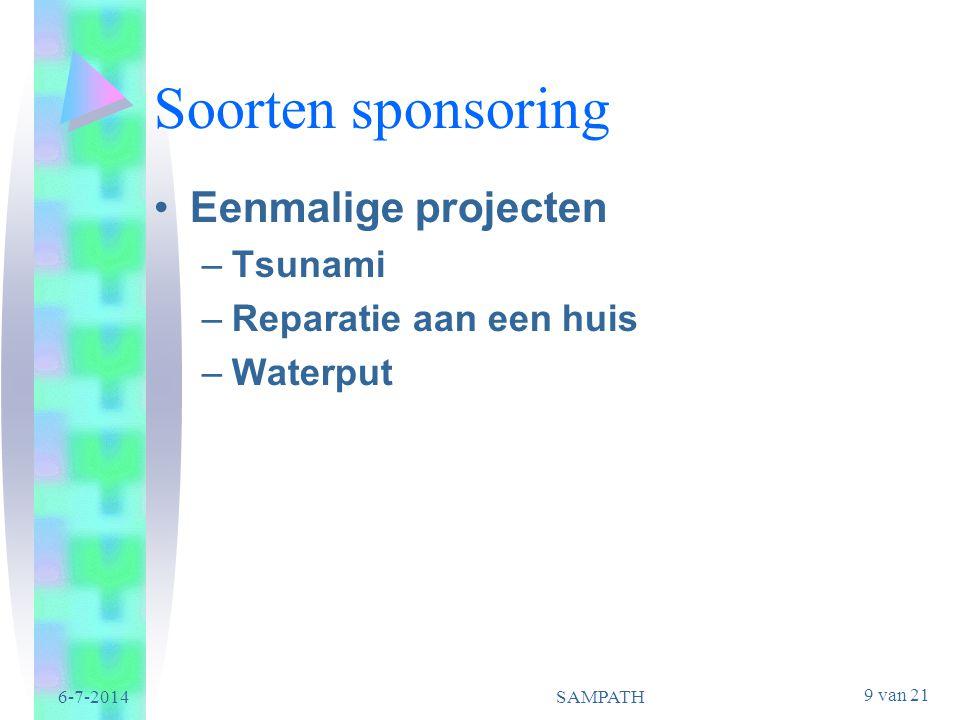 Soorten sponsoring Eenmalige projecten Tsunami Reparatie aan een huis