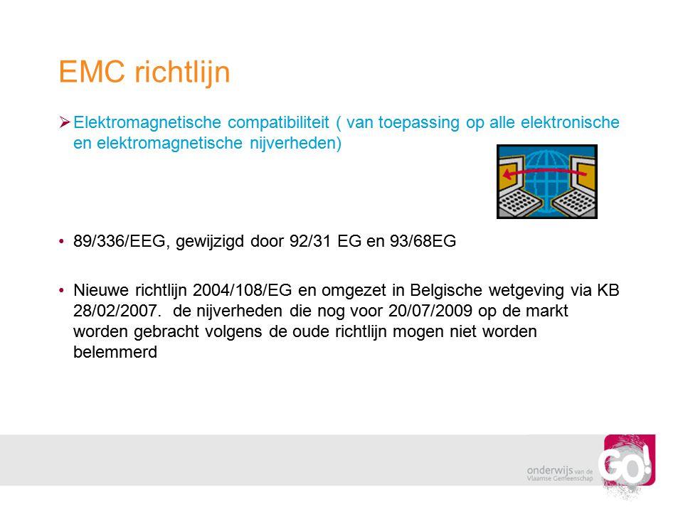 EMC richtlijn Elektromagnetische compatibiliteit ( van toepassing op alle elektronische en elektromagnetische nijverheden)