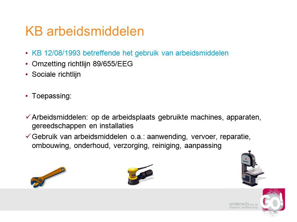 KB arbeidsmiddelen KB 12/08/1993 betreffende het gebruik van arbeidsmiddelen. Omzetting richtlijn 89/655/EEG.