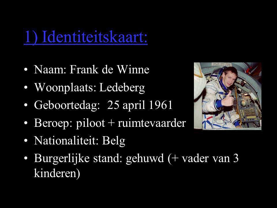 1) Identiteitskaart: Naam: Frank de Winne Woonplaats: Ledeberg