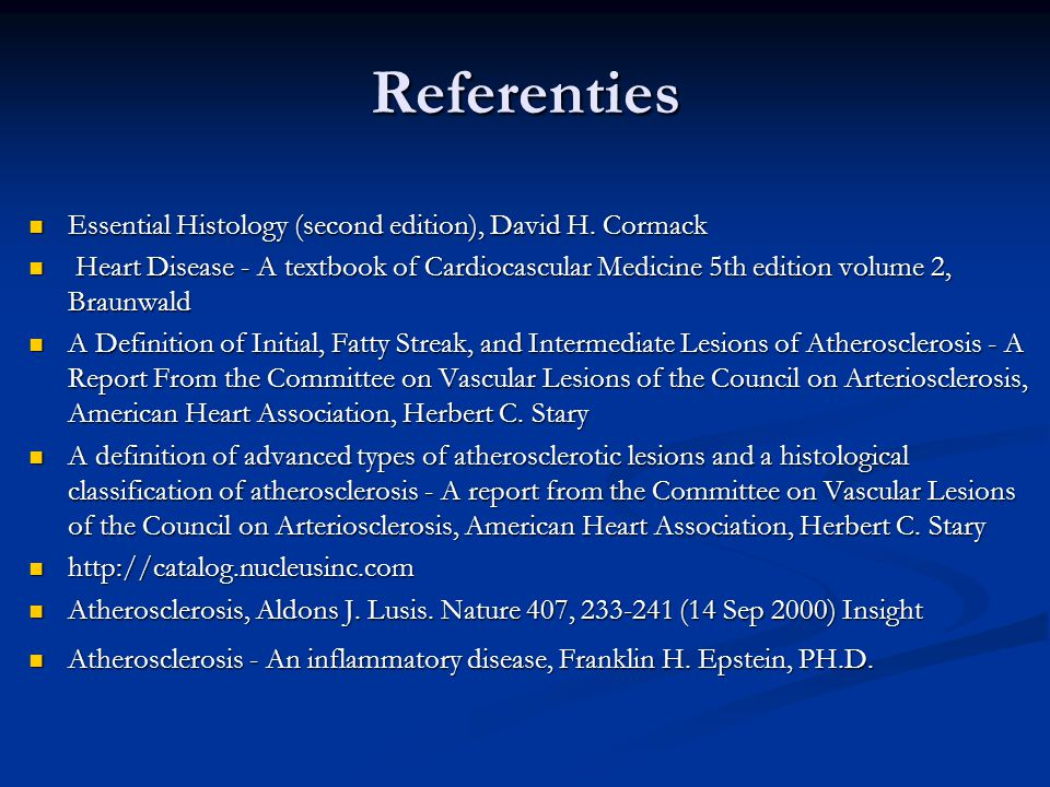 Referenties Essential Histology (second edition), David H. Cormack