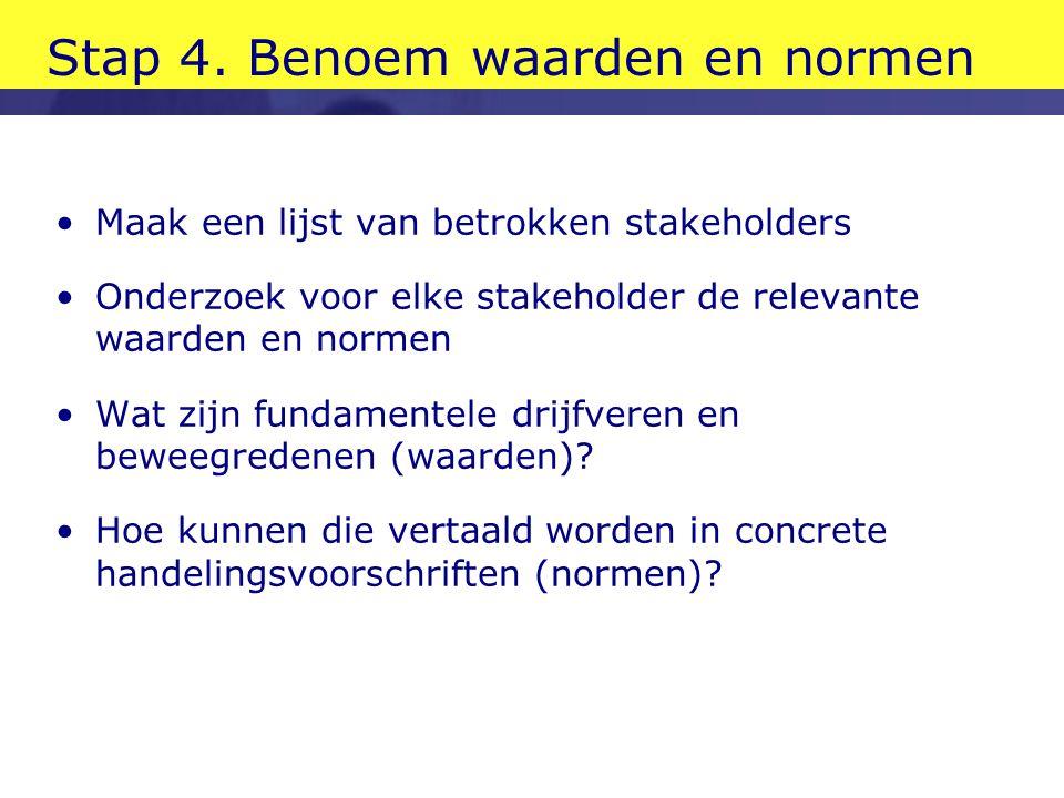 Stap 4. Benoem waarden en normen