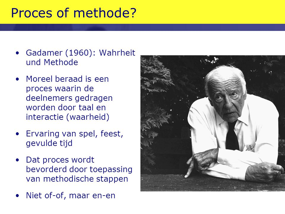 Proces of methode Gadamer (1960): Wahrheit und Methode