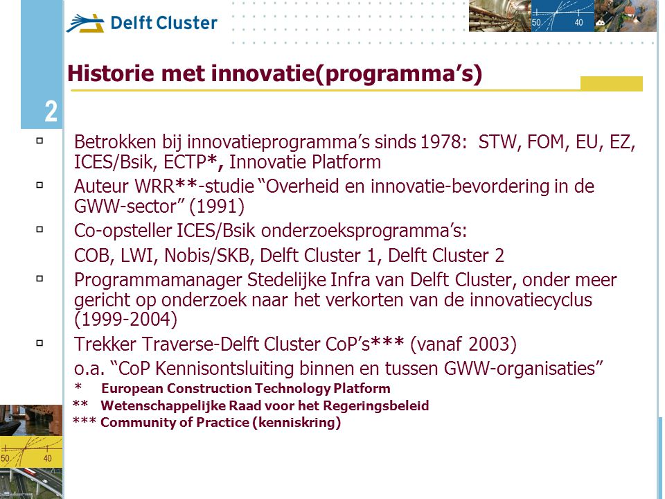 Historie met innovatie(programma's)