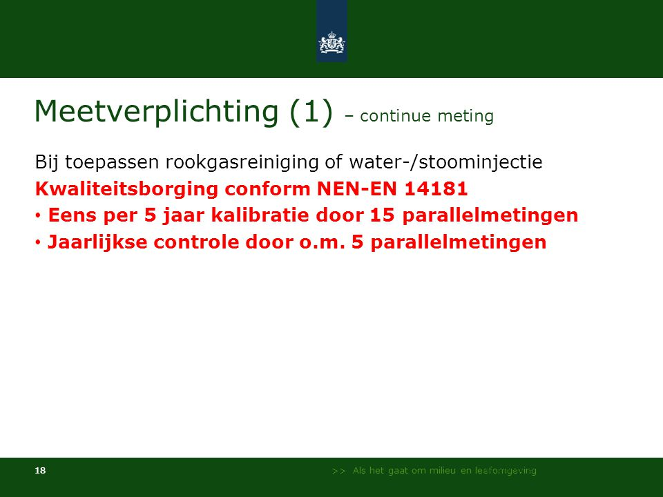 Meetverplichting (1) – continue meting