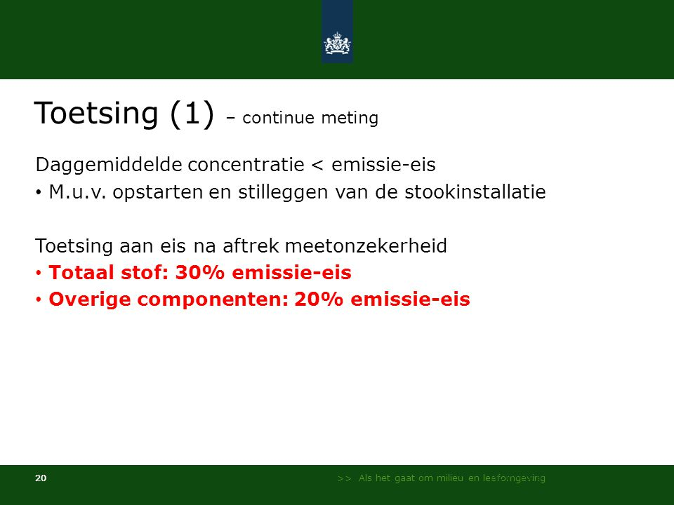 Toetsing (1) – continue meting