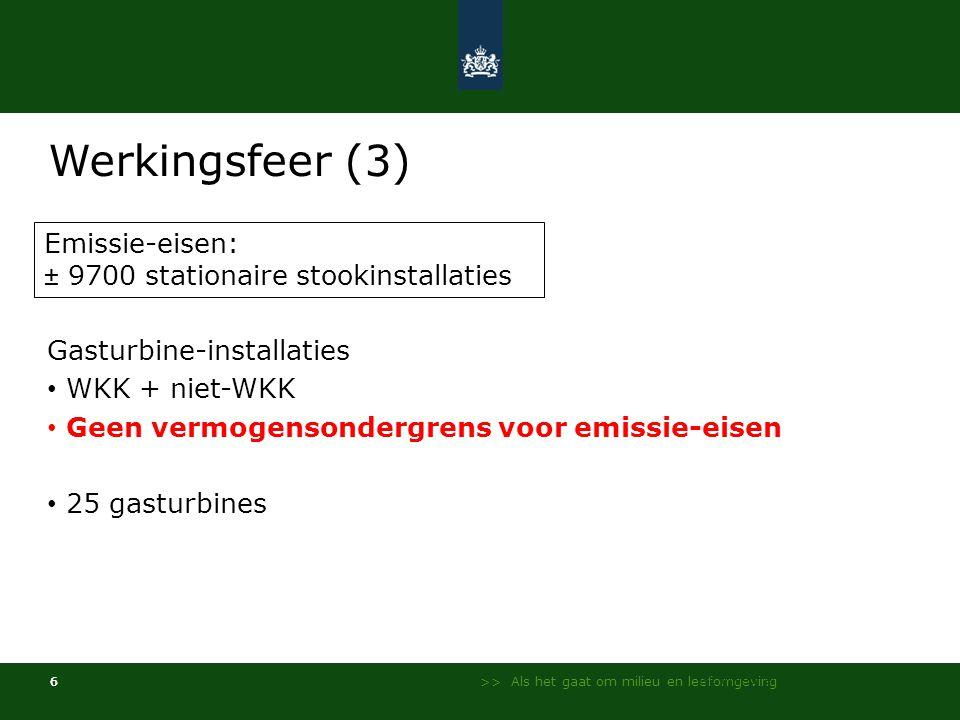 Werkingsfeer (3) Emissie-eisen: ± 9700 stationaire stookinstallaties