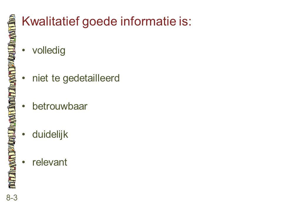 Kwalitatief goede informatie is: