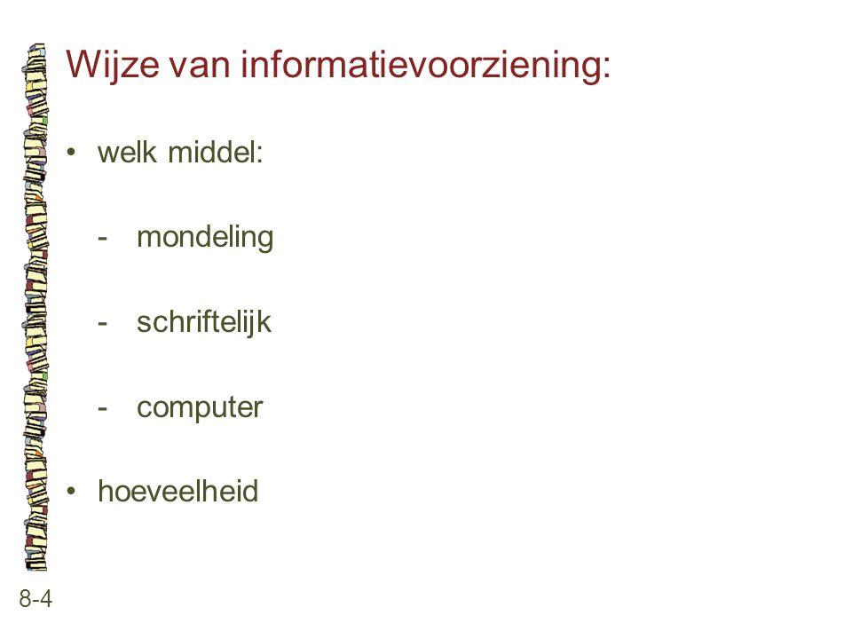 Wijze van informatievoorziening: