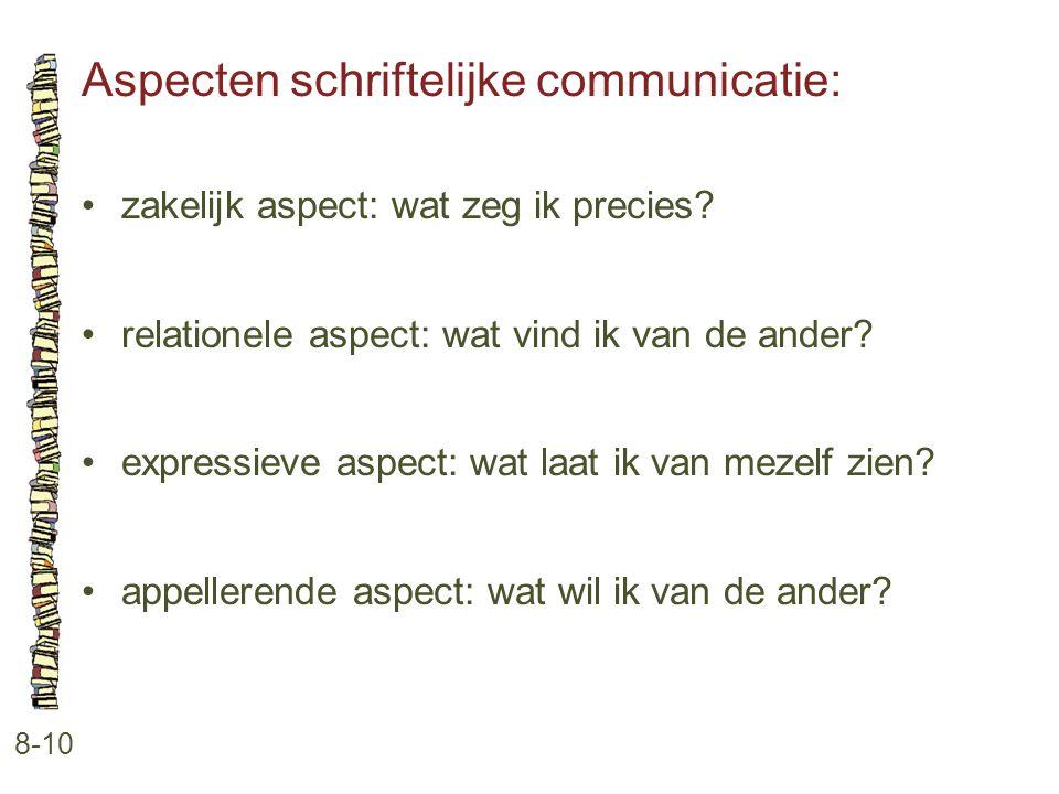 Aspecten schriftelijke communicatie:
