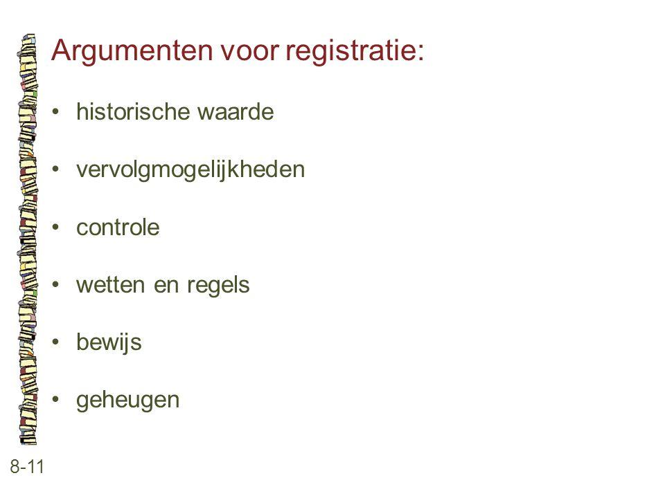 Argumenten voor registratie:
