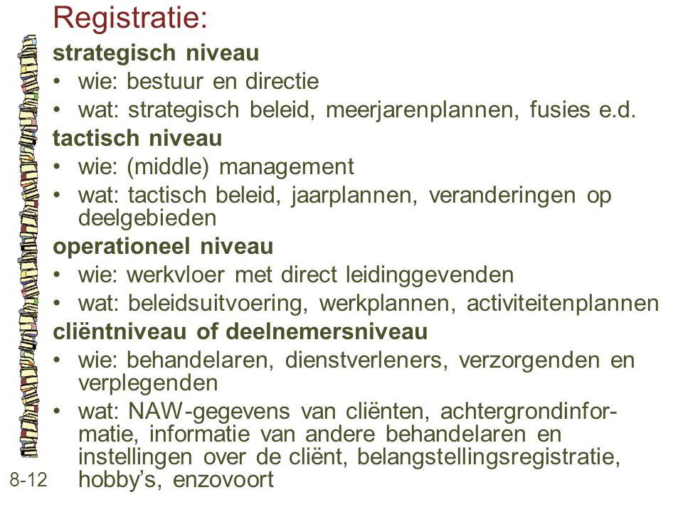 Registratie: strategisch niveau wie: bestuur en directie
