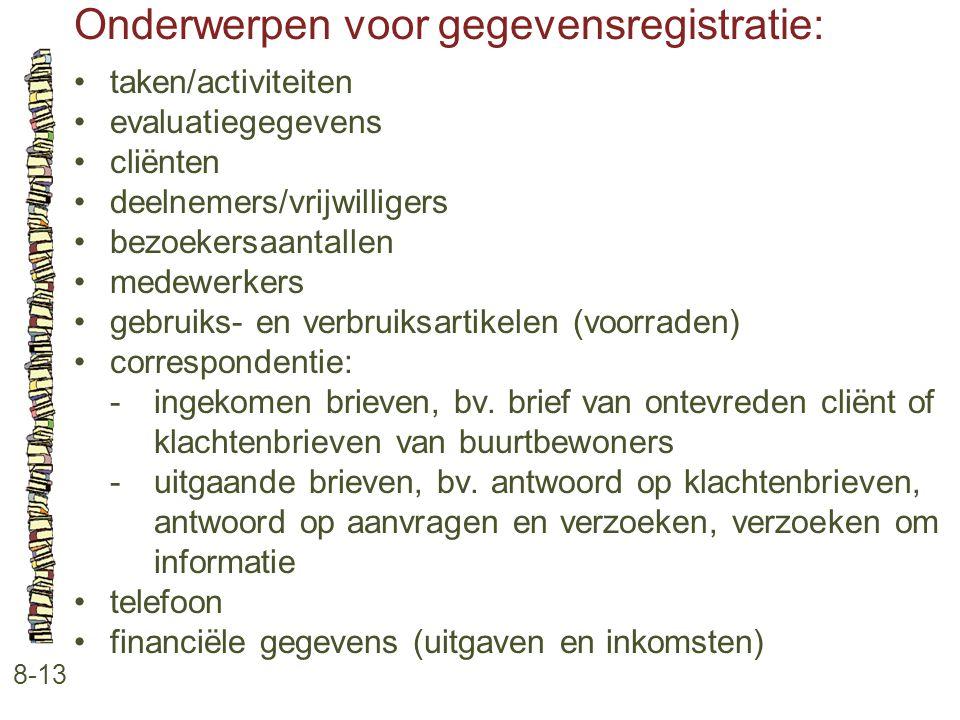Onderwerpen voor gegevensregistratie: