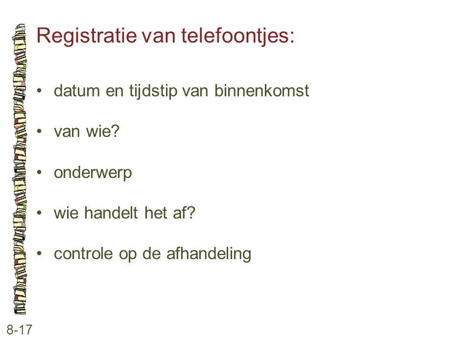 Registratie van telefoontjes: