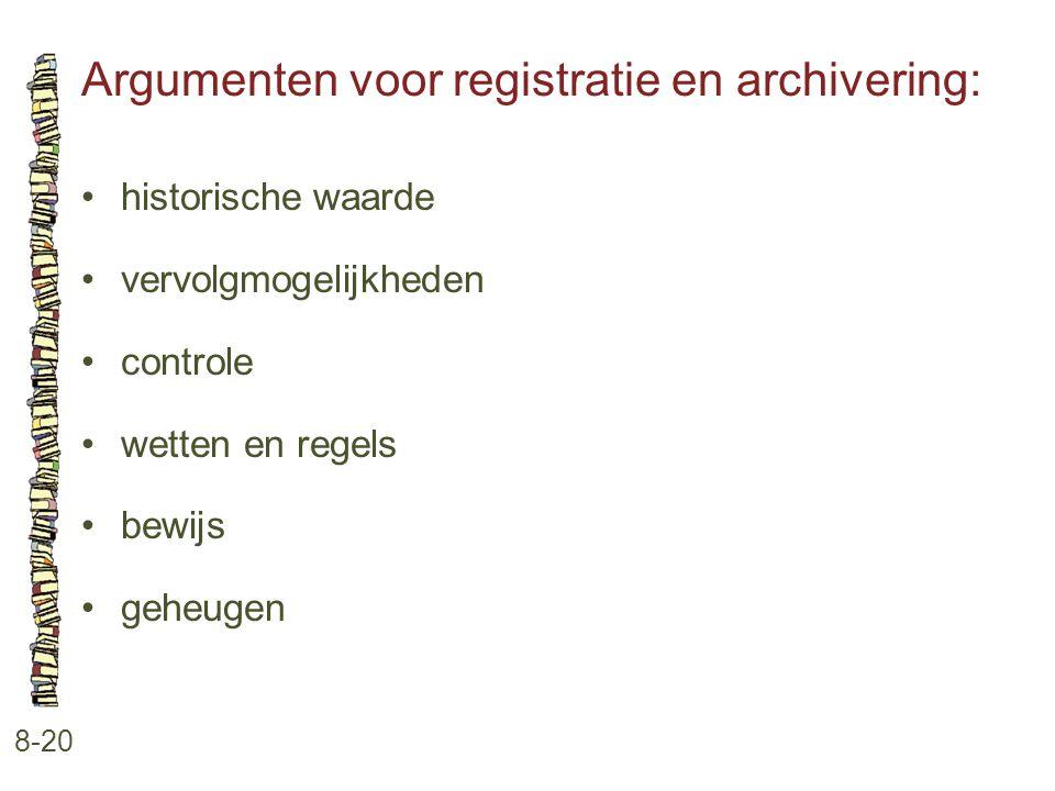 Argumenten voor registratie en archivering: